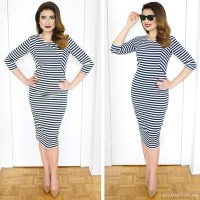 Navy Striped Wiggle Dress Outfit