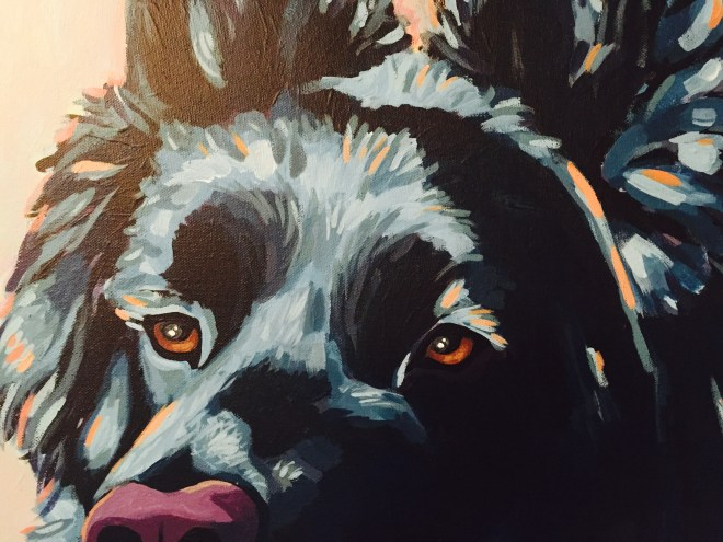 German Shepherd Painting Detail