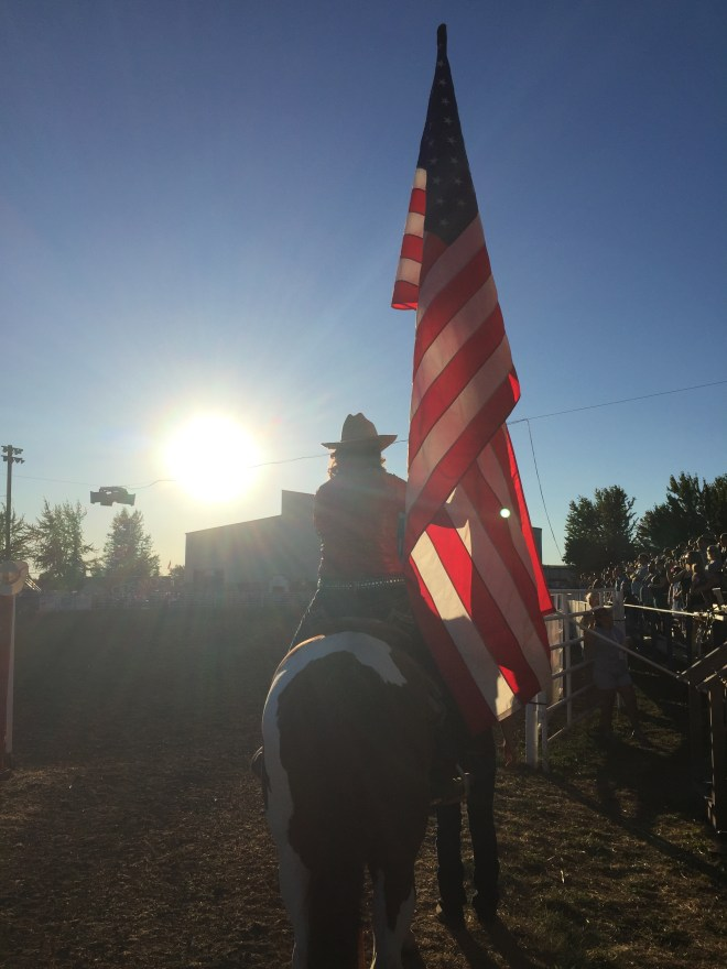 Rodeo Sun And Flag