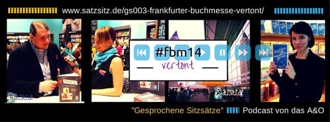 Bildercollage von das A&O auf der #fbm14: im Interview, der Messeturm und Karla Paul