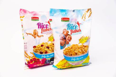 Rice flakes simple and cramberries packaging Rommac