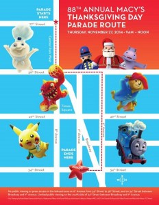 Macy's Thanksgiving Day Parade Route Map from GoNYC.about.com