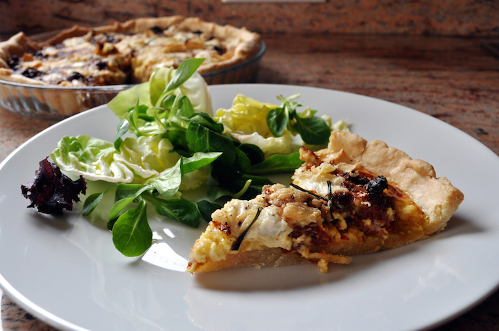 goat cheese and sun-dried tomato quiche