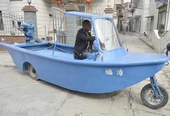 صياد صيني يصنع دراجة نارية برمائية