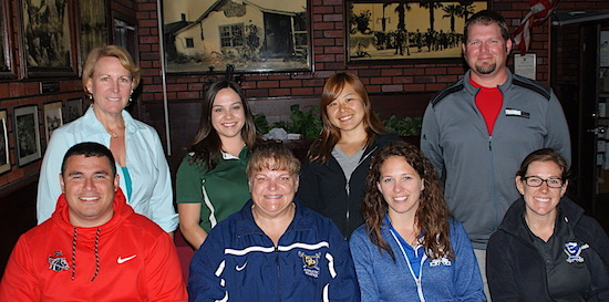 The local athletic trainers were honored at Monday's Round Table press luncheon. Trainers in attendance were, bottom row, from left: Joseph Farias (SBCC), Wendy Whitehead (Dos Pueblos), Shannon Drew (Cate), Shauna Ericksen (Cate); top row: Susan Houlihan-Davis (SBCC), Kayla Linane (Santa Barbara High), Shiho Ando (SBCC) and Bryan Linden (San Marcos).