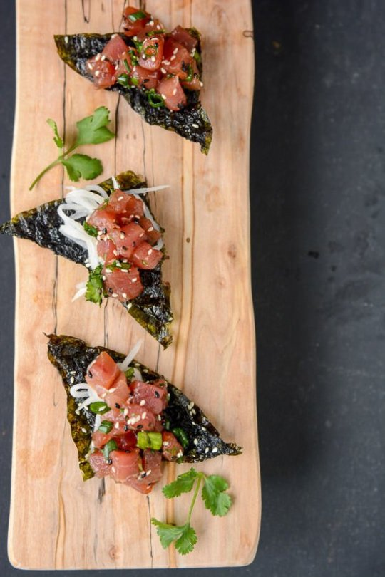 Ahi Poke with Nori chips | Scaling Back