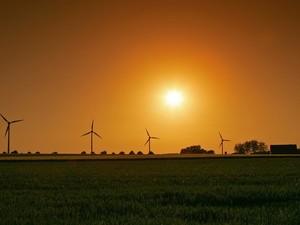 Field with wind power generators - HD Desktop/stock photos