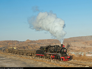 oto: 1320 Fuxin Coal Steam 2 8 2 at Fuxin, China by Peter Bowler