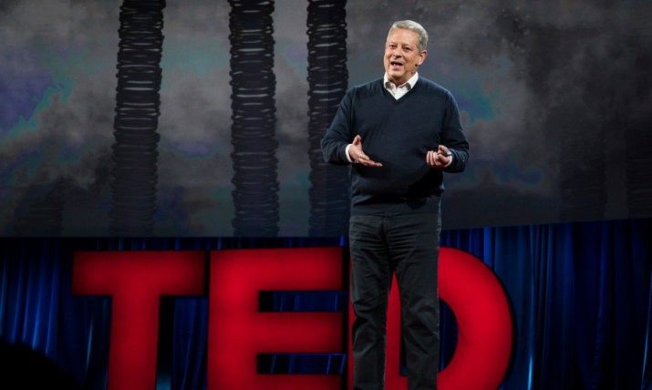 Al Gore speaks at TED2016 - Dream, February 15-19, 2016, Vancouver Convention Center, Vancouver, Canada. Photo: Bret Hartman / TED
