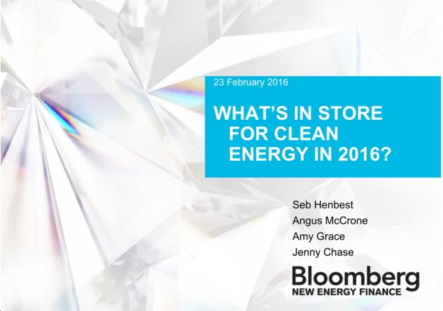 "BNEF Webinar Explains ""What's in store for clean energy in 2016"" (and beyond)"