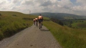 Riding with Rhyl Cycling Club. Descent to Cyffylliog!