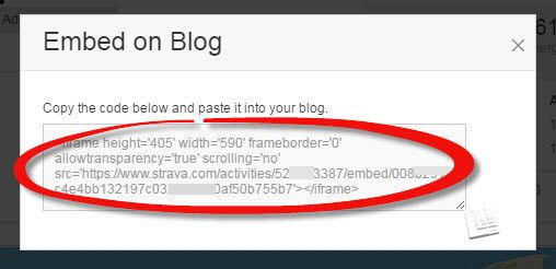 embed strava code to copy/paste