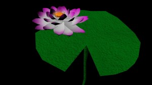 Lilypad with lotus flower in color