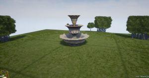 Fountain on grass