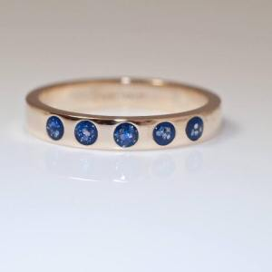 5 Stone Eternity Ring - Silver Blue
