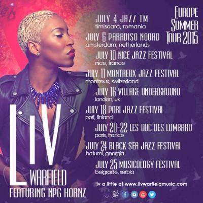Liv Warfield & The NPG Hornz en tournée en Europe