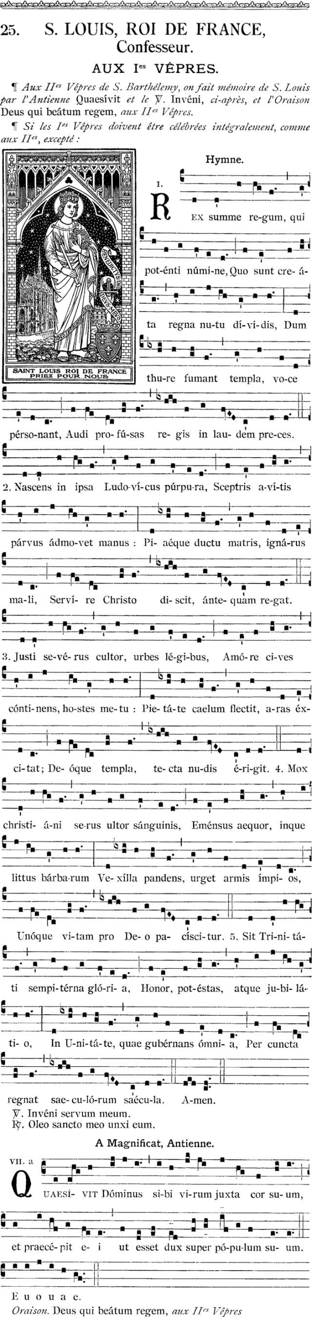 1ères vêpres de saint Louis