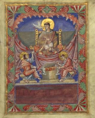 Sacramentaire de Charles le Chauve : folio 3 r° : saint Grégoire le Grand dicte ses livres liturgiques à ses scribes, sous l'inspiration du Saint-Esprit