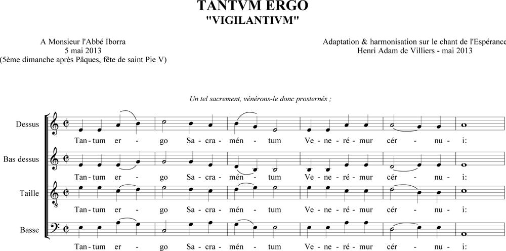 """Tantum ergo """"Vigilantium"""" sur le Chant de l'Espérance"""