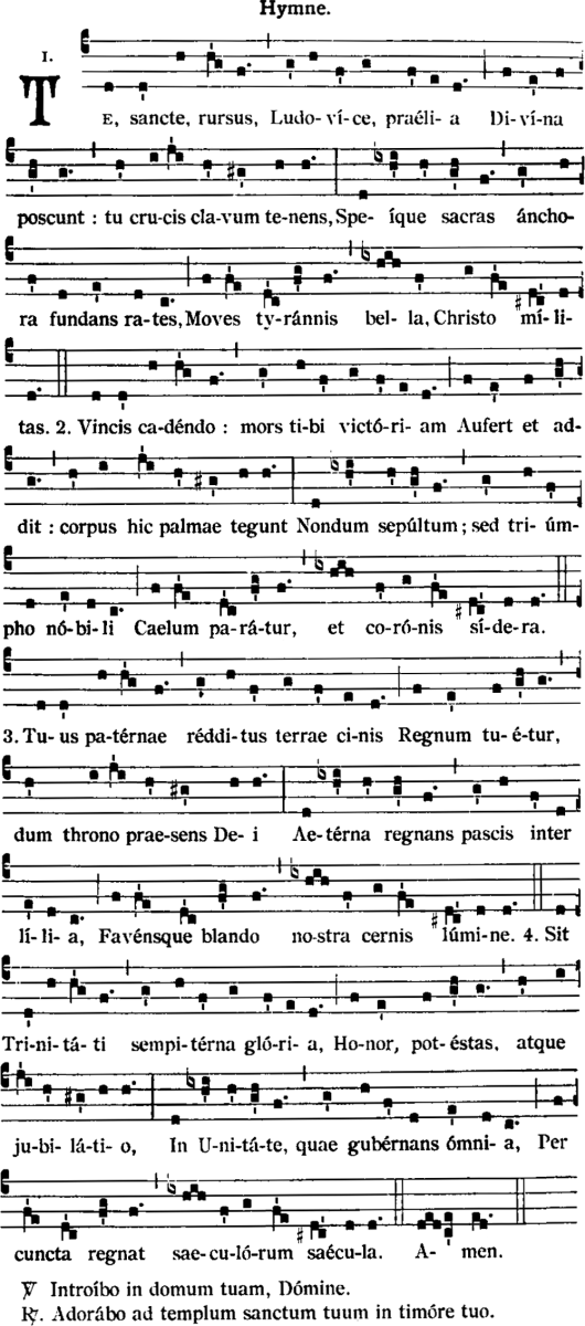 Te sancte, rursus, Ludovice, prælia - Hymne des secondes vêpres de saint Louis - chant traditionnel