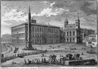 Façade latérale du Latran vers 1752 par Giuseppe Vasi