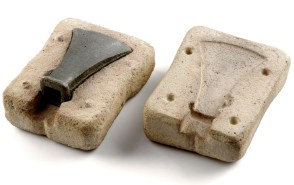 Bronze Age axe head and mould. Image copyright Leeds Museums and Galleries.