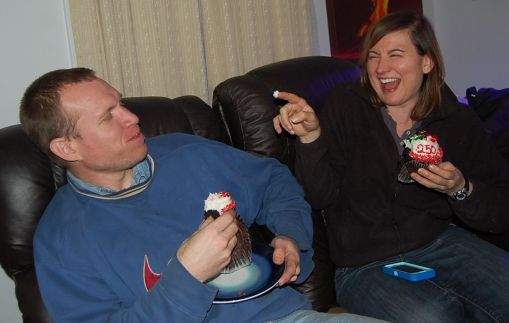 Tammy and Joe kind of eating their Cakeway cupcake prize.