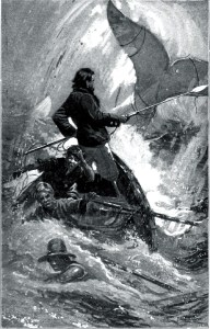 Illustration from Herman Mellville's book, Moby Dick https://upload.wikimedia.org/wikipedia/commons/8/8b/Moby_Dick_final_chase.jpg