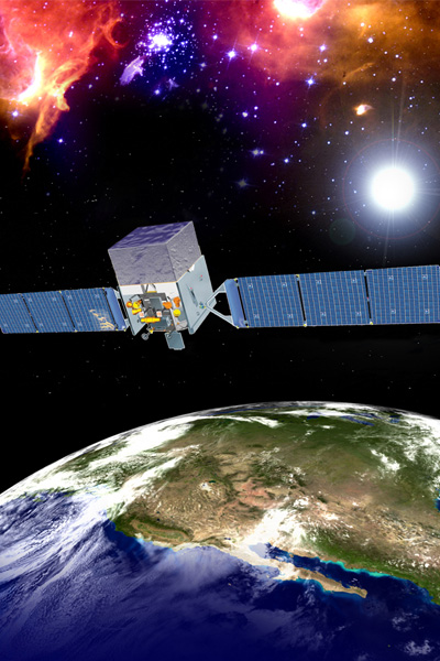 De Fermi Gamma-ray Space Telescope. Afbeelding: NASA.