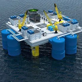 artist's conception of a pilot plant off China's coast