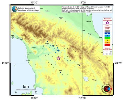 """Figura 7: Mappa """"ho sentito il terremoto"""" (Fonte INGV)"""