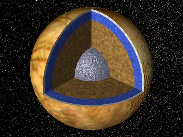 Sezione di Europa, una delle lune di Giove. Si pensa che al suo interno vi sia dell'acqua allo stato liquido, rappresentata dallo strato azzurro. Fonte Wikipedia