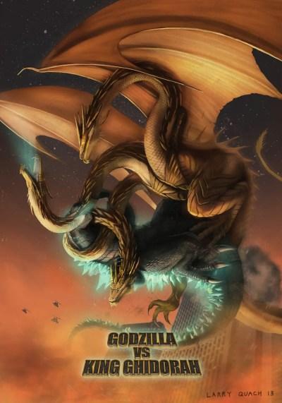 New Godzilla vs. King Ghidorah Poster - Art by Larry Quach - Godzilla Fan Artwork Image Gallery