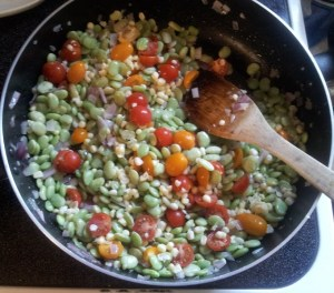 Lima beans, the bane of my childhood existence, getting some action with my fresh corn and tomatoes.