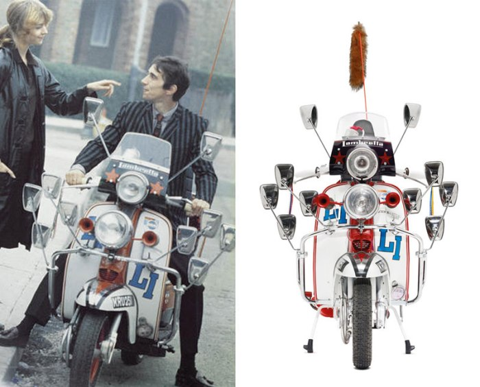 "Phil ""Jimmy"" Waters in ""Quadrophenia"" (left) and the replica Lambretta sold at the (RED) auction (right)."