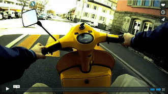 Yellow Vespa POV Video Timelapse