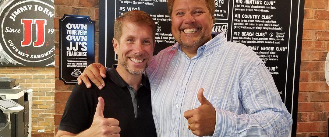 Scott and Jimmy John at JJ Headquarters in Champaign, IL