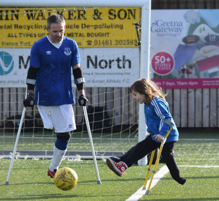 Patrick Thistle has teamed up with Scottish charity Finding Your Feet to offer football training to amputee Scots. Pictured is Keeley Cerretti, aged seven