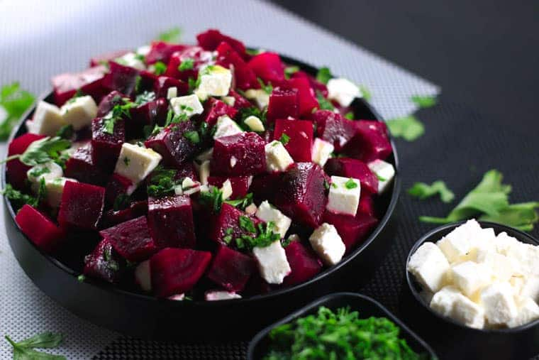 Healthy Beetroot and Feta Salad - This salad has the perfect balance of sweet and salty from the beetroot and feta cheese - SO good! Super healthy and tastes even better! | ScrambledChefs.com