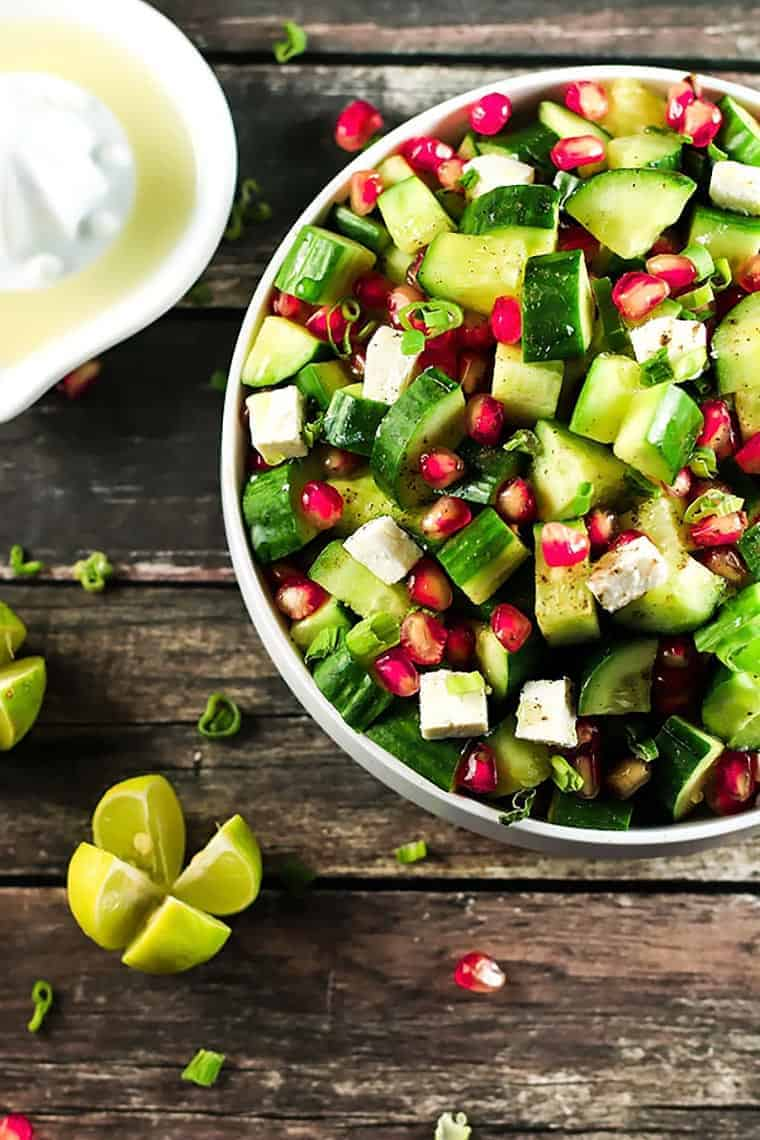 Easy Cucumber and Pomegranate Salad - The combination of flavors in this recipe will have you addicted! The contrast between the pomegranate and feta cheese is beautiful - and the cucumbers go so well! ScrambledChefs.com