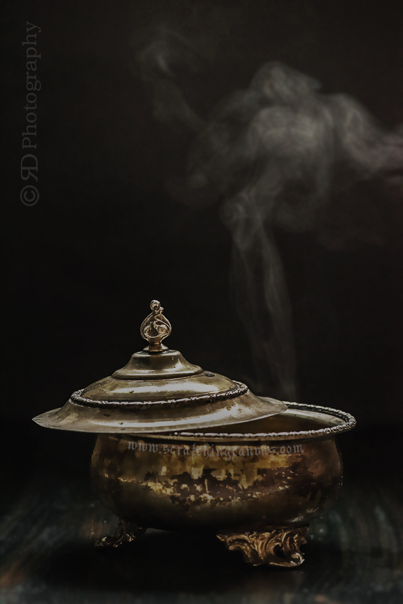 Antique Prop Food Photography capturing steam