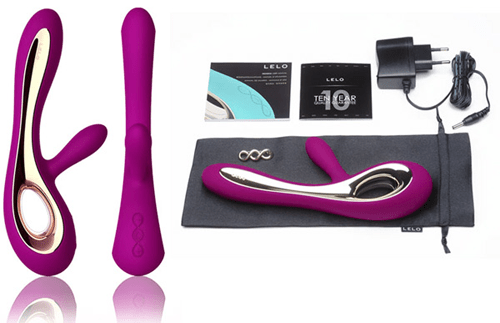 lelo soraya vibrator comes with its charger, an insignia broach, satin drawstring pouch, instruction booklet and its 1 year warranty & ten year guarantee