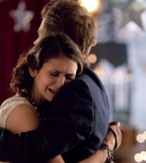 Nina Dobrev and Paul Wesley in The Vampire Diaries. Photo: Bob Mahoney/The CW ©2012 The CW Network.