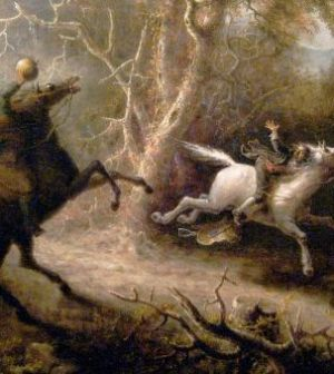 The Headless Horseman Pursuing Ichabod Crane, John Quidor, 1858