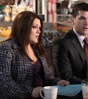 Brooke Elliott and Jackson Hurst in Drop Dead Diva. Image © 2012 A&E