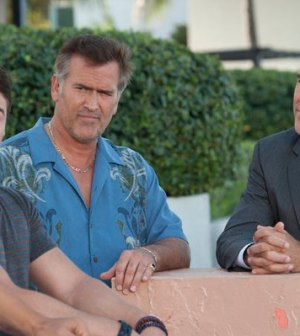 Brando Eaton, Bruce Campbell as Sam Axe, Richard Burgi as Morris. Photo by Glenn Watson/USA Network