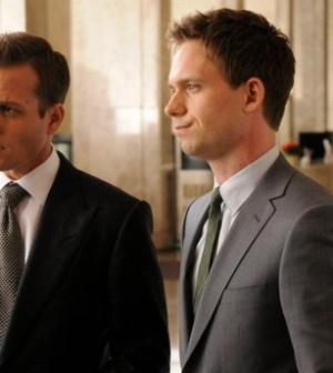 Gabriel Macht as Harvey Specter, Patrick J. Adams as Mike Ross. Photo by: Steve Wilkie/USA Network