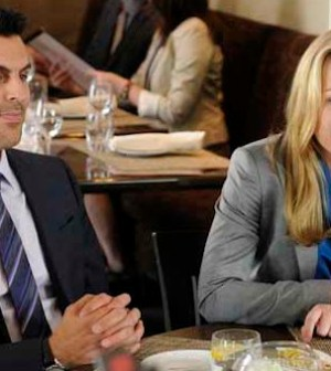 Oded Fehr and Piper Perabo on COVERT AFFAIRS (Photo by: Steve Wilkie/USA Network)