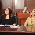 Brooke Elliott & Sharon Lawrence in Drop Dead Diva. Photo by Annette Brown.  © A&E Television Networks.
