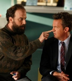 Brett Gelman as Mr. K, Matthew Perry as Ryan King -- (Photo by: Justin Lubin/NBC)